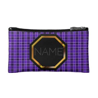 Customisable Purple Plaid Cosmetics Bag