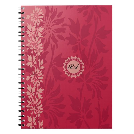 Customisable Red and Pink Floral Design Notebook