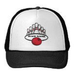 Customisable red bowling team sport hat
