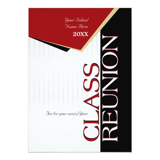 Customisable Red Class Reunion Invitation
