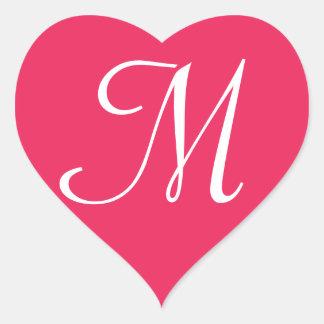 Customisable Red Heart Sticker Monogram