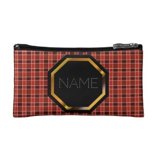 Customisable Red Plaid Cosmetics Bag Makeup Bag