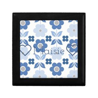 Customisable Retro Blue Flowers Jewellery/Gift Box