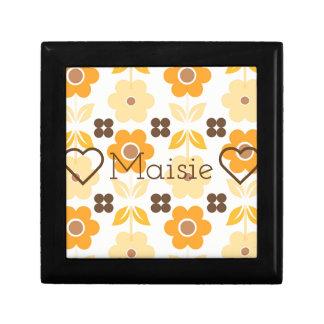 Customisable Retro Flowers Jewellery/Gift Box
