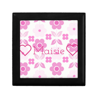 Customisable Retro Pink Flowers Jewellery/Gift Box