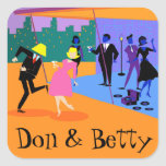 Customisable Retro Urban Rooftop Party Stickers