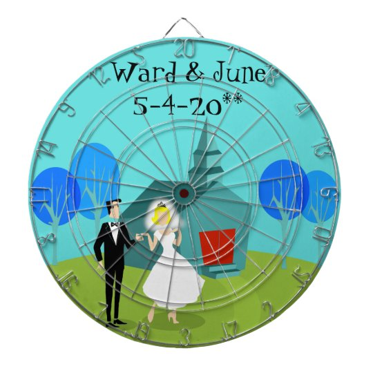 Customisable Retro Wedding Couple Dart Board