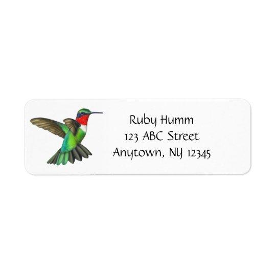 Customisable Ruby Throated Hummingbird Avery Label
