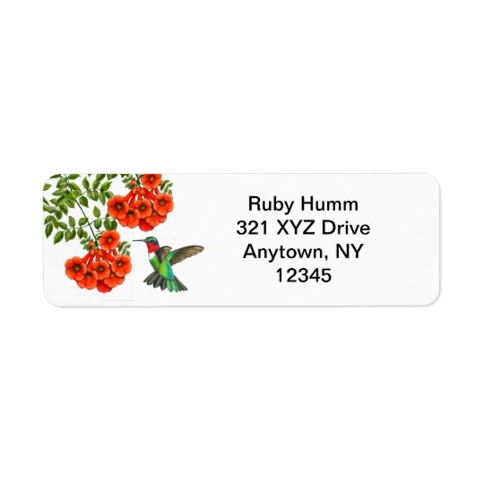 Customisable Ruby Throated Hummingbird on Trumpet Return Address Label