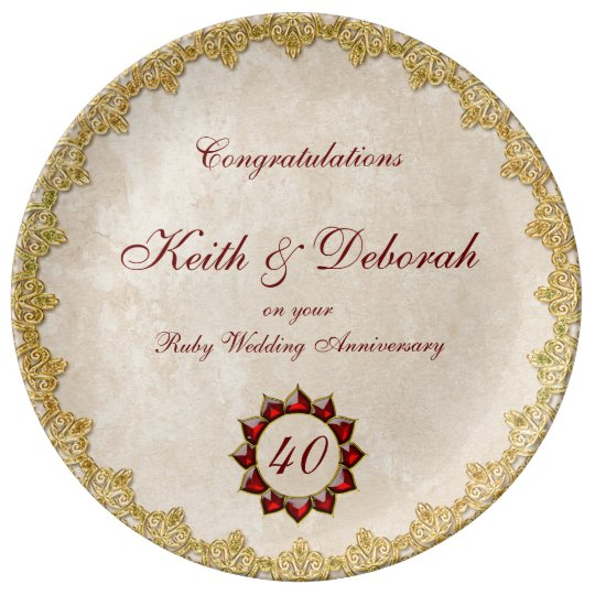 Customisable Ruby Wedding Anniversary Plate