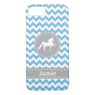 Customisable Saddlebred Blue Chevron iPhone 7 case