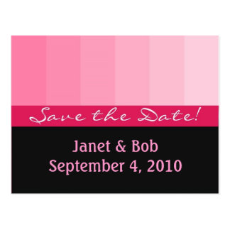 Customisable save the date postcard pinks