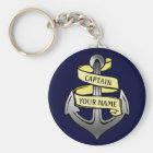 Customisable Ship Captain Your Name Anchor Key Ring
