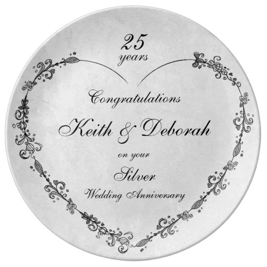 Customisable Silver Wedding Anniversary Plate