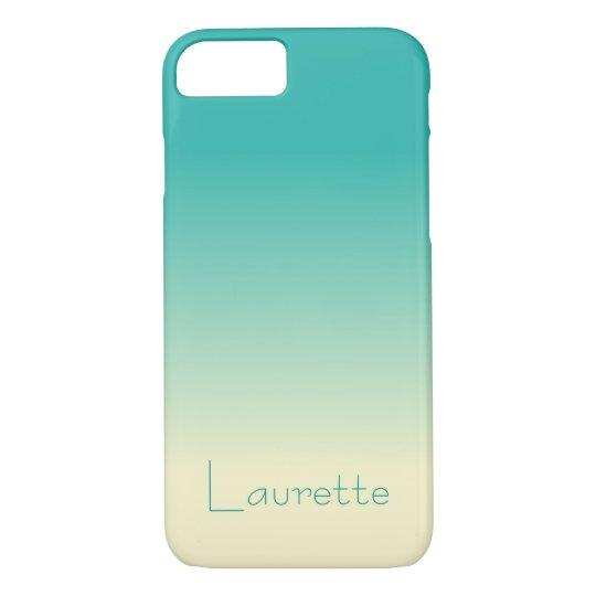 Customisable Simple Aqua and Cream Gradient Ombre iPhone