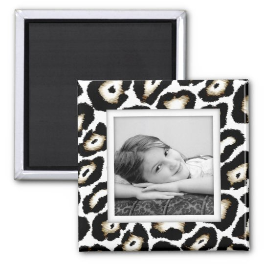 Customisable Snow Leopard Photo Frame Magnet