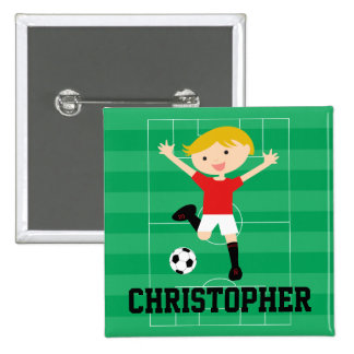 Customisable Soccer Boy 1 Red and White 15 Cm Square Badge