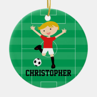 Customisable Soccer Boy 1 Red and White Round Ceramic Decoration