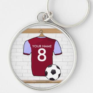 Customisable Soccer Jersey (claret blue) Keychain