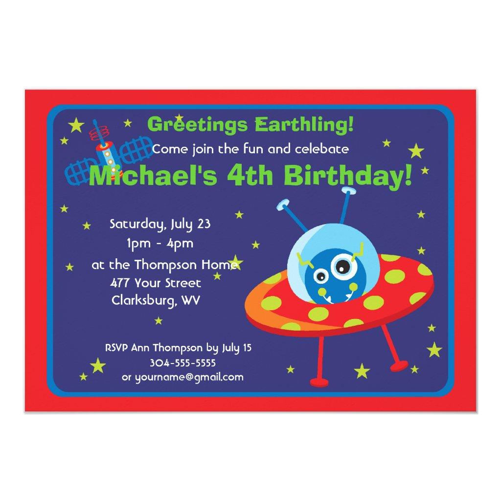 Customisable Space Alien Card