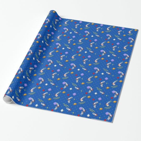 Customisable Space Walk Astronaut and Rocketship Wrapping Paper