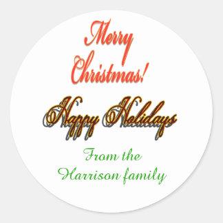 Customisable Sticker Christmas Happy Holidays
