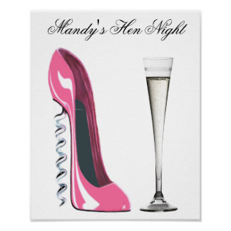Customisable Stiletto and Champagne Party Poster