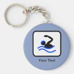 Customisable Swimmer Logo Basic Round Button Key Ring
