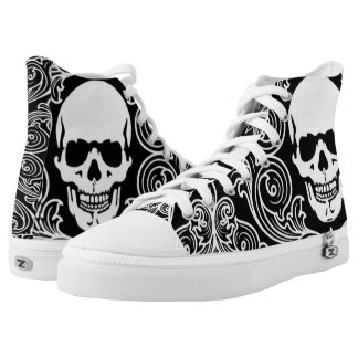 customisable swirlly skull unisex hightops