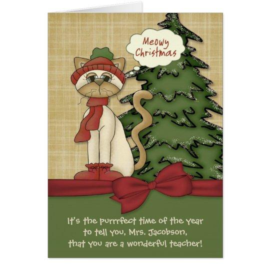Customisable Teacher's Name Meowy Christmas Kitty Card