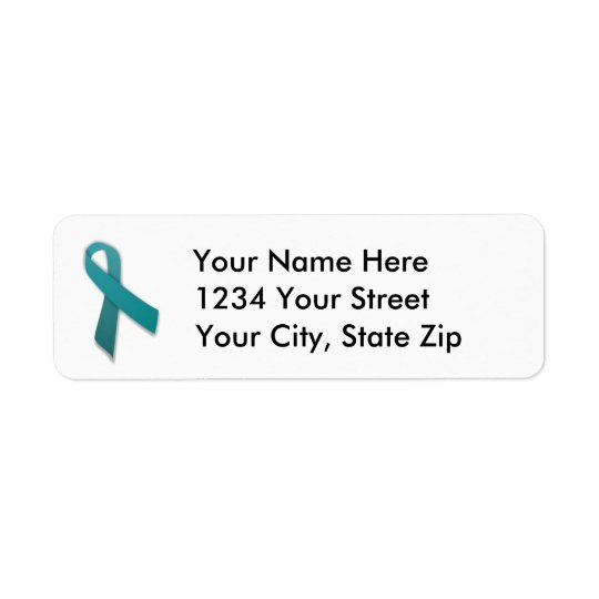 Customisable Teal Cancer Ribbon Address Label