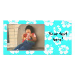 Customisable Teal Hibiscus Photocard Photo Card Template