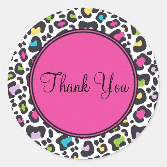 Customisable Thank You Sticker   Neon Leopard