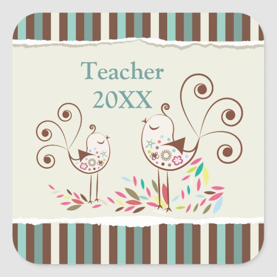 Customisable Thanks Teacher, Whimsical Bird Stripe Square Sticker