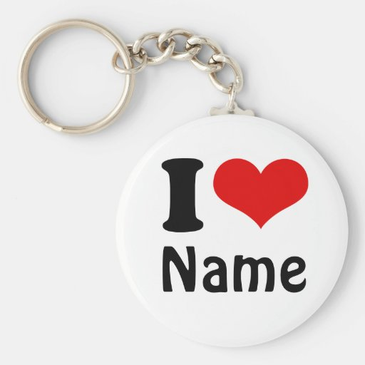 Customisable Valentines Day I love Heart Custom Basic Round Button Key Ring