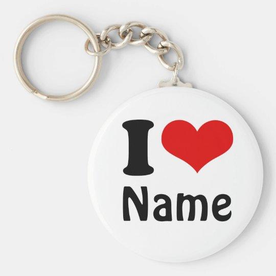 Customisable Valentines Day I love Heart Custom Key Ring