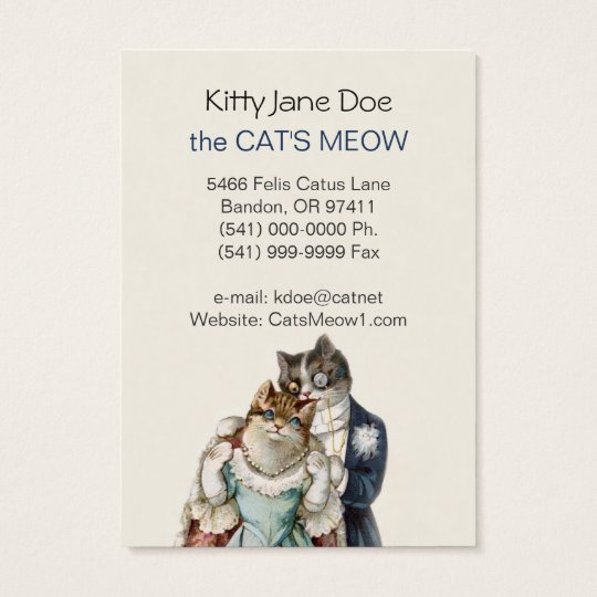 Customisable Vintage Business Card - Cat Couple