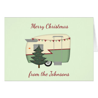 Customisable Vintage Camper Christmas Card
