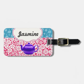 Customisable Vintage Floral Kitsch Teapot Luggage Tag
