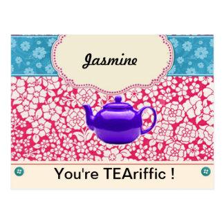 Customisable Vintage Floral Kitsch Teapot Postcard