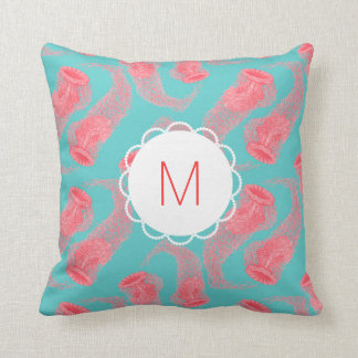 Customisable Vintage Jellyfish Monogram Cushion