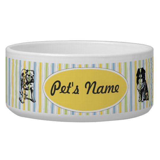 Customisable Vintage Toy Dogs on Stripes Pet Bowl
