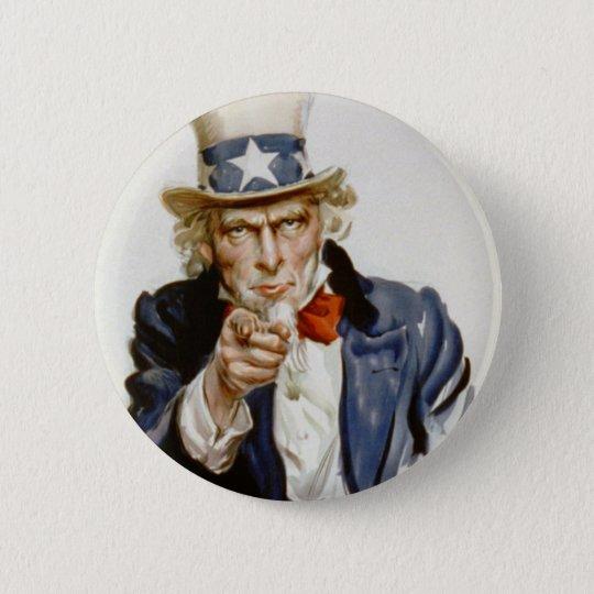 Customisable Vintage Uncle Sam 6 Cm Round Badge