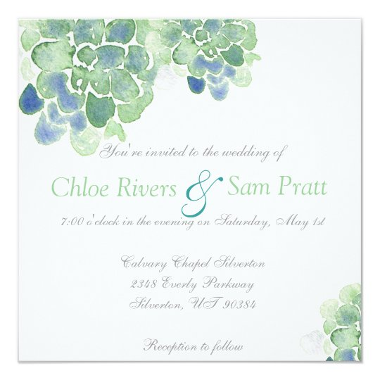 Customisable Watercolor Succulents Teal Invitation