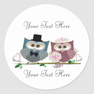 Customisable Wedding Owls Art Classic Round Sticker