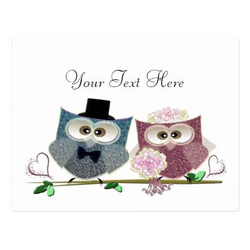 Customisable Wedding Owls Art Post Card