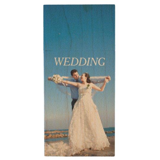 Customisable Wedding Photo Wood USB Flash Drive