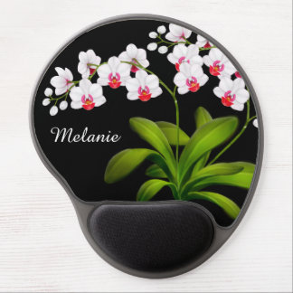 Customisable White Moth Orchid Floral Gel Mousepad Gel Mouse Mat