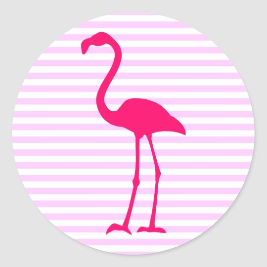 Customisable White Stripes Hot Pink Flamingo Classic Round