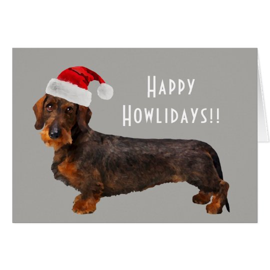 Customisable Wire Haired Dachshund Holiday Card
